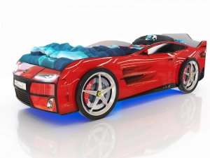 Кровать-машина Romack Kiddy красная (с подсветкой)