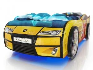 Кровать-машина Romack Kiddy желтая - линии (с подсветкой)