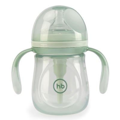 Бутылочка Happy Baby 10019 с ручками и силиконовой соской 180 мл. (olive)