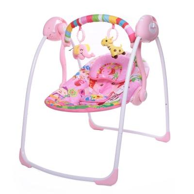 "Электрокачели Babycare ""Safari"" с адаптером (розовые джунгли)"