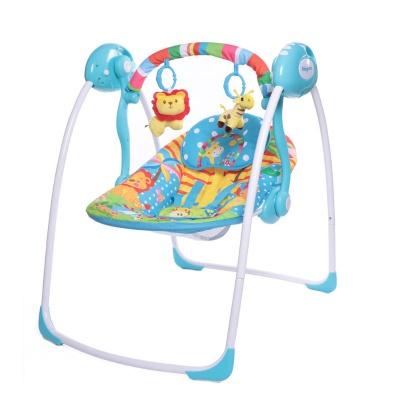 "Электрокачели Babycare ""Safari"" с адаптером (голубые джунгли)"