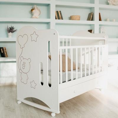 Кровать ВДК Sweet Bear колесо/качалка, ящик, белый