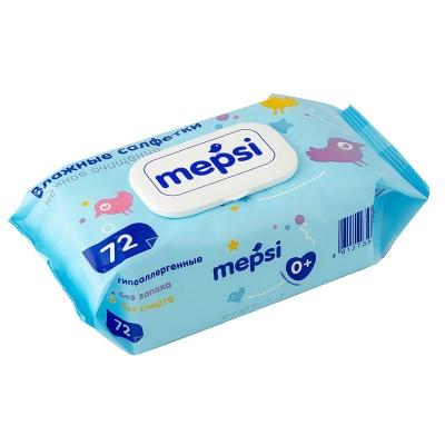 Влажные салфетки Mepsi 72 шт., детские, гипоаллергенные, арт.163