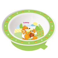 """Тарелка Lubby 13954 """"Весёлые животные"""" от 6 мес., пластик, с присоской"""