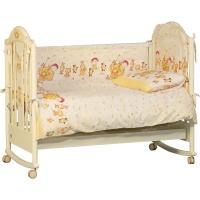 Комплект Папитто 7215 в кроватку борт + постельное белье бежевый