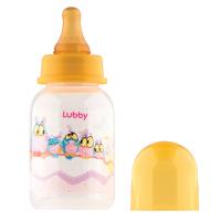 """Бутылочка Lubby 13565 с соской """"Веселые животные"""", от 0 мес.,125мл.,полипропилен"""