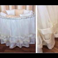 Подзор на кроватку Incanto (юбка с ярусами), бежевый В3