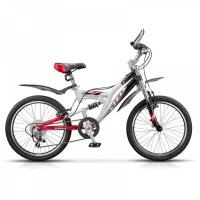 """Велосипед 20"""" STELS Pilot-250 13"""" 6 скор. белый/чёрный/красный"""