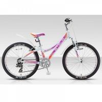 """Велосипед 24"""" STELS Navigator-430 V 11.5"""" 6 скор. белый/фиолетовый/оранжевый"""