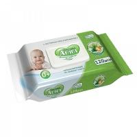 Влажные салфетки AURA Ultra Comfort для детей Алоэ+Витамин Е 120шт с крышкой