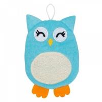 Мочалка-рукавичка ROXY-KIDS RBS-003 махровая Baby Owl.  Хлопкова ткань
