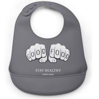 Нагрудник Happy Baby 16006 силиконовый (dark grey)