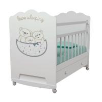 Кровать ВДК Love Sleeping колесо/качалка, ящик, белый