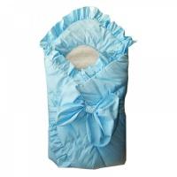 Конверт - одеяло Папитто 2153 с завязкой голубой (меховая вставка)