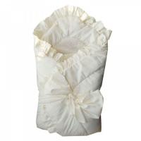 Конверт - одеяло Папитто 2153 с завязкой экрю (меховая вставка)