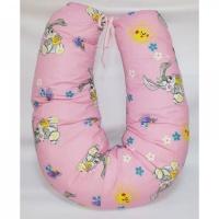 Подушка для кормления MamaLine 170 (170cm) зайки на розовом
