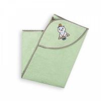 """Полотенце-уголок  Baby Care """"Мишка с медом"""" махровое (зеленое, Унисекс)"""
