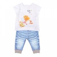 """Комплект футболка+штанишки Папитто """"Fashion Jeans"""" 522-04 для девочки р.24-86"""