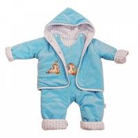 Комплект куртка с капюшоном, полукомбинезон Папитто 53-5021 р.24-80 голубой