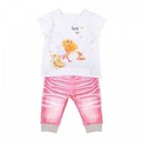 """Комплект футболка+штанишки Папитто """"Fashion Jeans"""" 523-04 для девочки р.24-86"""