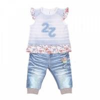 """Комплект футболка+штанишки Папитто """"Fashion Jeans"""" 521-04 для девочки р.22-74"""