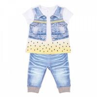 """Комплект футболка+штанишки Папитто """"Fashion Jeans"""" 520-04 для девочки р.22-74"""