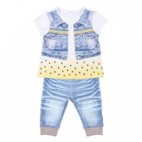 """Комплект футболка+штанишки Папитто """"Fashion Jeans"""" 520-04 для девочки р.24-80"""
