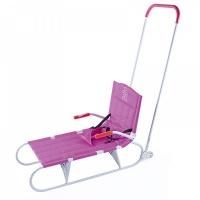 Санки Дэми СДС-09 складные с задним толкателем на колёсах (розовый)