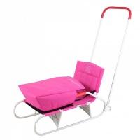 Санки Дэми СДС-09.01 складные с задним толкателем на колёсах с карманом (розовый)