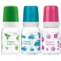 Бутылочка тритановая Canpol (BPA 0%) с сил. соской, 120 мл.3+  210204007