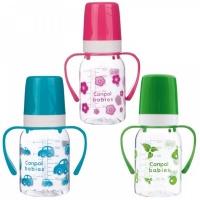 Бутылочка тритановая Canpol (BPA 0%) с ручками с сил. соской, 120 мл.3+  210204009