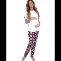 Пижама женская MamaLine для беременных 83.4208-01 белый с красным, губы 46 М