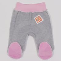 Ползунки Топотушки 3330-62 розовый с закрытыми ножками на широкой резинке швы на