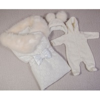 Выписка зима Margarita 12-040c 3 пр, одеяло-конверт с мех.отделкой, комбинезон,