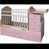 Кровать Сафаня №3 трансформер, маятник, резьба, белый/розовый